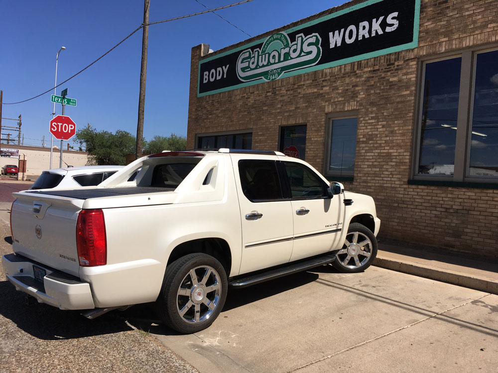 Edwards Bodyworks White Truck repair after